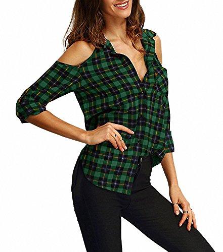Afibi Camisa manga Verde cuadros a larga Franela Blusa Hombro Tartan Casual de wrqxgBrX