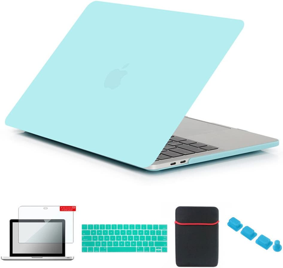 Se7enline MacBook Case for MacBook Pro 13 inch A1706/A1708/A1989/A2159 2016-2019 with/Without Touch Bar Plastic Hard Cover with Sleeve, Keyboard Cover, Screen Protector, Dust Plug, Turquoise Blue