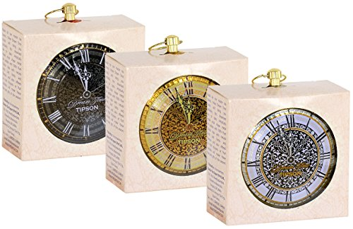 (Tipson | Ornament Tea Clocks | Pure Ceylon Green & Black Tea filled Clocks | Perfect for Holiday gifts, Christmas, Santa Claus, Hostess gifts, New Year party, Stocking Stuffers | Pack of 3)