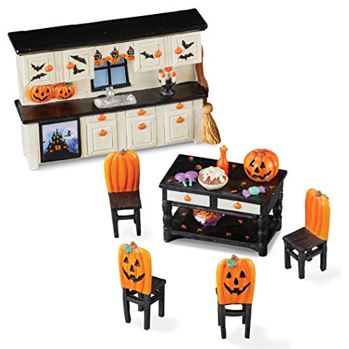 Collections Etc Miniature Halloween Kitchen Includes a Wall of Cabinets, an Island and Four Chairs – Set of 6