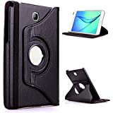 Infomatica Labs 360 Degree Rotating (Swivel Stand) PU Leather Folio Flip Cover For Samsung Galaxy Tab A (8.0 Inch) SM-T350, T351, T355 (Black)