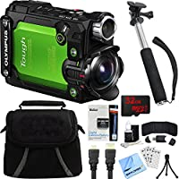 Olympus Stylus TG-Tracker Waterproof 4K Action Cam Green Accessory Bundle includes Camera, 43 Telescopic Selfie Stick, Bag, HDMI Cable, Battery, 32GB microSD Memory Card, Beach Camera Cloth and More