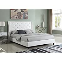 Home Life Premiere Classics Leather White Tufted with Nails Leather 51 Tall Headboard Platform Bed with Slats King - Complete Bed 5 Year Warranty Included 007