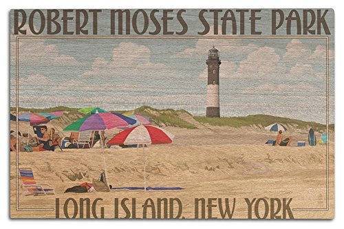 Robert Moses State Park, Long Island, New York (12x18 Wood Wall Sign, Wall Decor Ready to Hang) (Beach Long Island Ny)