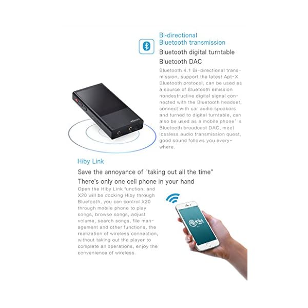 HiFi Mp3 Player xDuoo X20 Lossless Music DSD Aptx Bluetooth 4.1 High Fidelity Mp3 Player Black 5