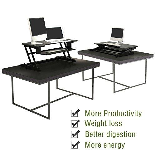 Standing Desk, Stand up Adjustable Desk Riser Converter for Desktop Laptop Dual Monitor by smugdesk (Image #5)