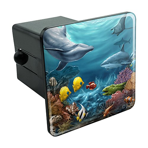 Graphics and More Coral Reef Ocean Scene Dolphin Turtle Shark Stingray Fish Tow Trailer Hitch Cover Plug Insert 2