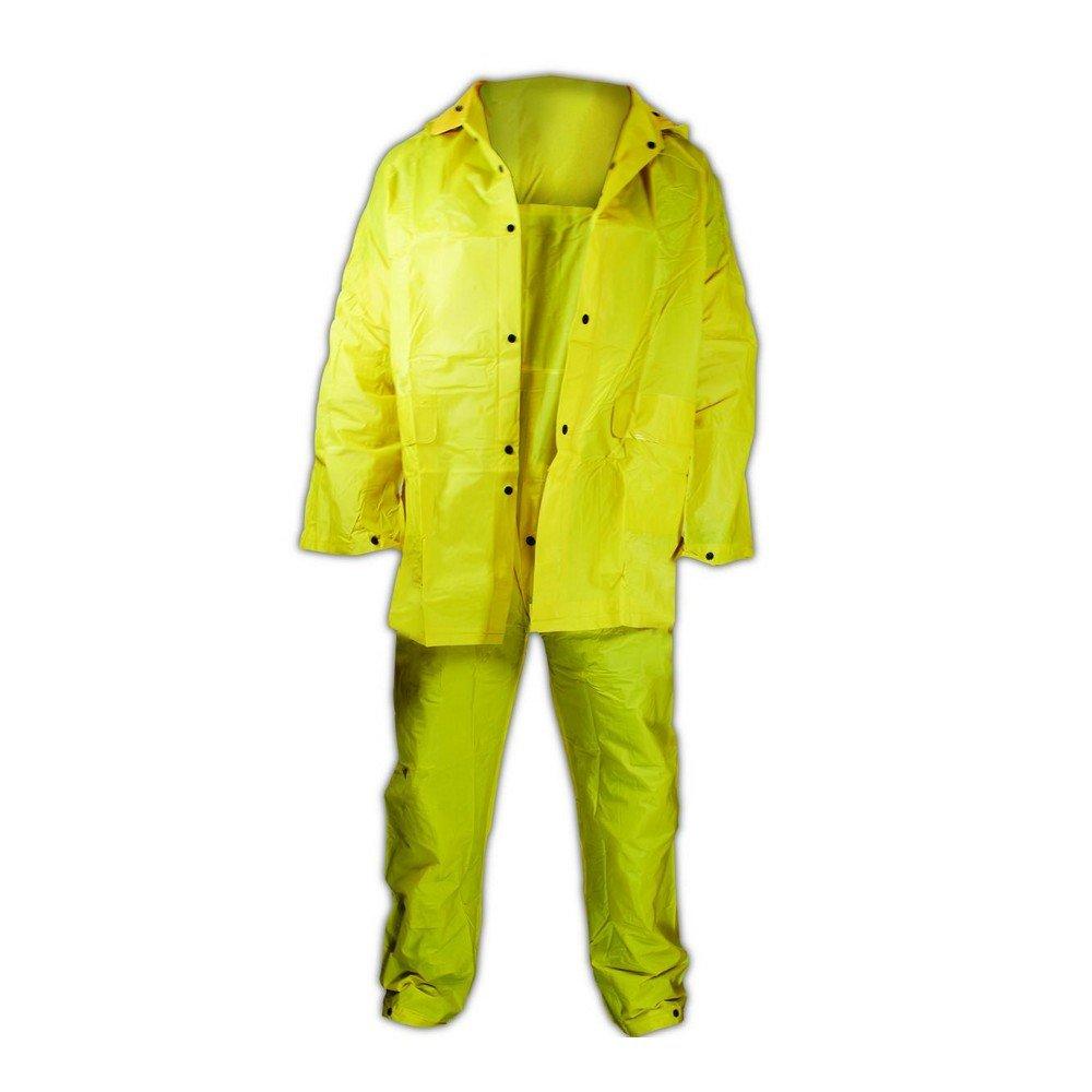 Medium XL Magid Glove /& Safety 055Y-XL Magid Rain Master 3-Piece Rain Suit with Jacket Pants and Hood Yellow