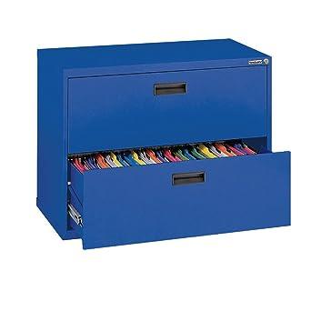 Amazoncom Sandusky Series Blue Steel Lateral File Cabinet - File cabinet width