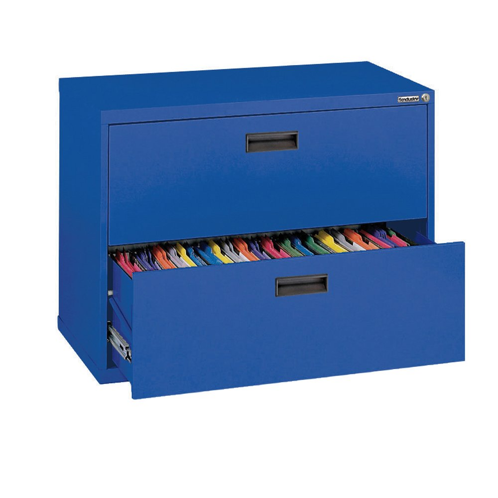 Sandusky 400 Series Blue Steel Lateral File Cabinet with Plastic Handle, 30'' Width x 27-1/4'' Height x 18'' Depth, 2 Drawers