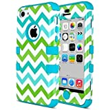 iPhone 5c Case - ULAK Hybrid High Impact Soft TPU and Hard PC Protective Case Cover for Apple iPhone 5C (Green/Blue Wave)