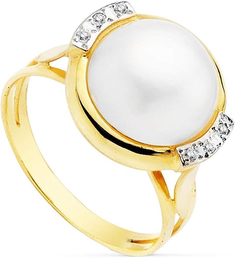 Sortija oro 18k bicolor perla japonesa 12mm. cerco circonitas [AC0190]