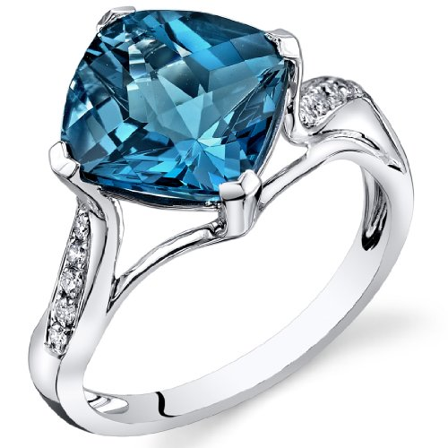 Peora London Blue Topaz Diamond Ring 14Kt White Gold Cush...