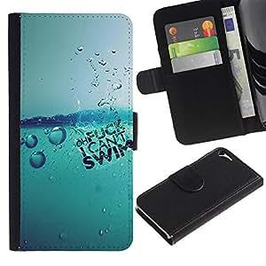 Stuss Case / Funda Carcasa PU de Cuero - Agua Splash - Apple Iphone 5 / 5S