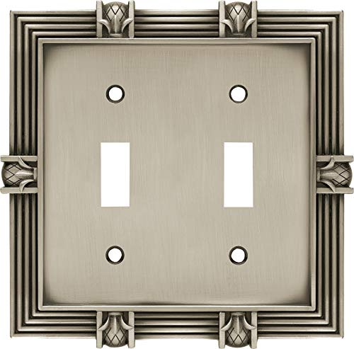 Franklin Brass 64460 Pineapple Double Toggle Switch Wall Plate/Switch Plate/Cover, Brushed Satin Pewter