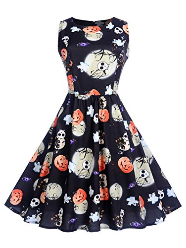 Leomodo Sexy Halloween Pumpkin Print High Waist Swing Dress for Women Black -