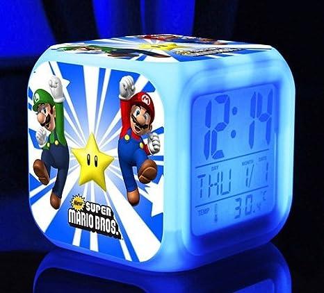 Super Mario Bros 7 colores Cambio LED de alarma digital reloj juego Cartoon noche coloridos juguetes