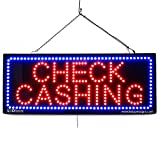 LARGE LED OPEN SIGN - ''CHECK CASHING'' 13''X32'' size, ON / OFF / FLASHING MODE (LED-Factory #2645)