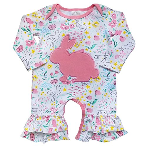 So Sydney Toddler Girls 2 Pc Easter Bunny Pastels Top and Pants Holiday Outfit (M (6-12 Months), Spring Bunny Romper)