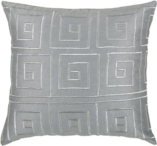 Rizzy Home T-3441 Decorative Pillows, 18 by 18-Inch, Gray/Silver, Set of 2
