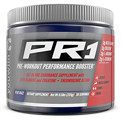 #1 Rated PR1 Pre Workout with Creatine, Beta Alanine, Amino Acids, Thermogenic | Performance Booster | Complete Nutritional Bodybuilding Supplement | 30 Servings (Blue Razz) | Youwiin Sports Nutrition