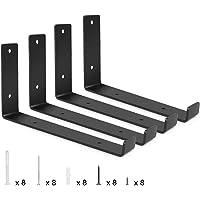 Plank Beugels Industriële 10 Inch,4 Stks Wandplank Beugels Metaal met Lip, Heavy Duty Plank Beugels, Zwarte Wandplank…