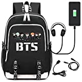 JUSTGOGO Korean Casual Backpack Daypack Laptop Bag College Bag School Bag Bookbag with USB Charging Port (9)