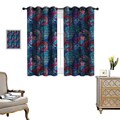- Anyangeight Ombre Patterned Drape for Glass Door Mosaic Shaped Shell Like Swirls Ocean Deep Sea Inspired Art Image Waterproof Window Curtain W55 x L39 Light Blue and Lilac Pink