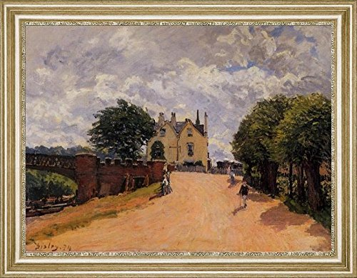 Inn At East Molesey With Hampton Court Bridge By Alfred Sisley   20  X 27  Framed Premium Canvas Print