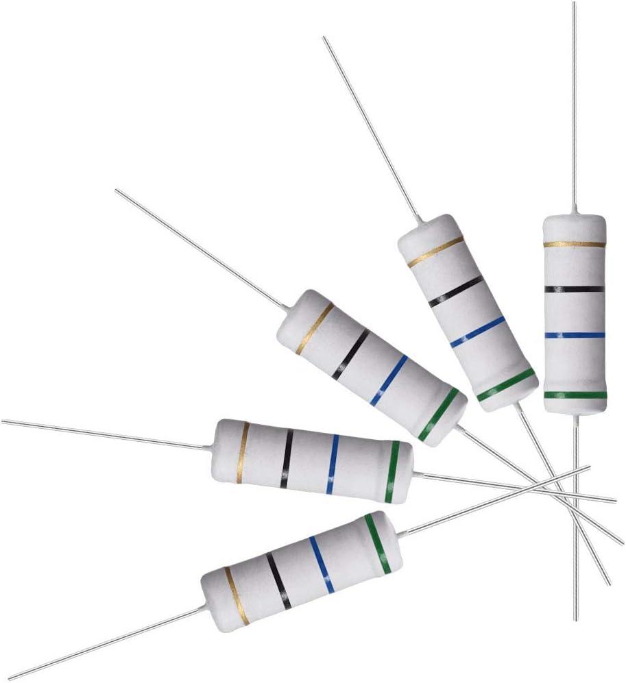 5 W Resistencia de 10 piezas de 56 ohmios resistencias de pel/ícula de /óxido de metal plomo axial a prueba de llamas para proyectos y experimentos electr/ónicos de bricolaje 5/% de tolerancia