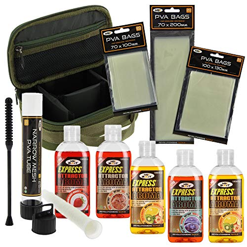 NGT Fishing Tackle Rig Wallet with 18 Hair Rigs 5 Glugs and PVA Tube and Bags Made by