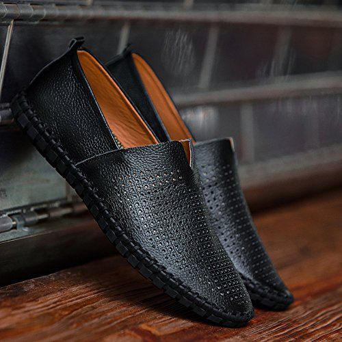 Mocasines De Cuero Fisca Mocasines Para Hombre Con Agujeros Transpirables Zapatos Planos Sin Cordones Slip-on Para Conductor Negro