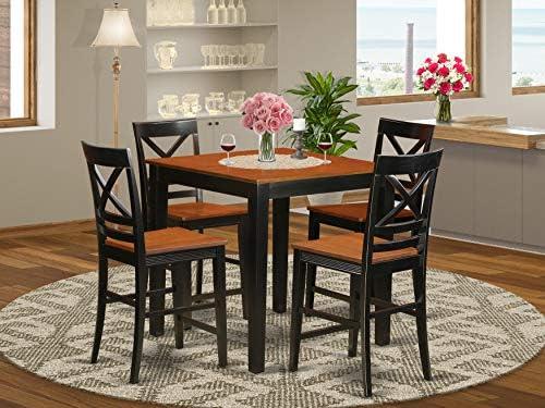 East West Furniture PBQU5-BLK-W Kitchen Set, Black Cherry