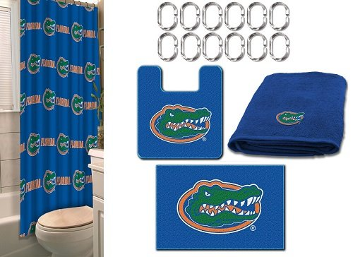 COMBO Florida Gators 19 Pc Bathroom Set - 1 Shower Curtain, 2 Bath Mats, 4 Applique Bath Towels &12 Shower Curtain Hooks - Save Big! ()