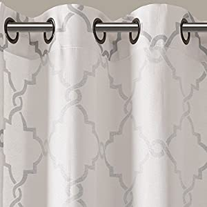 "Madison Park - Saratoga Fretwork Patio Window Curtain - Ivory - 100(W)"" X 84(L)"" Panel - Single Unit - Metalic Print - Grommet Top"