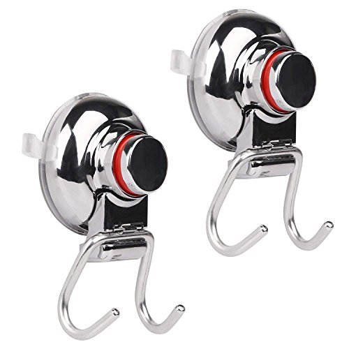 AUTO PDR Suction Cup Hooks, Powerful Water and Rust Proof Vacuum Hook Holder, Double Hook with Vacuum Suction Cup, Strong Stainless Steel Hooks for Bathroom Shower Kitchen,Towel Hanger Storage (Office Unfinished Armoire)