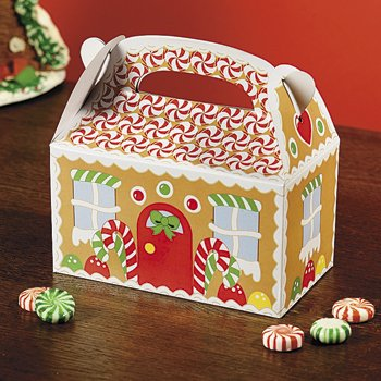 Fun Express Gingerbread House Cardboard Christmas Treat Boxes - 12 Piece Pack -