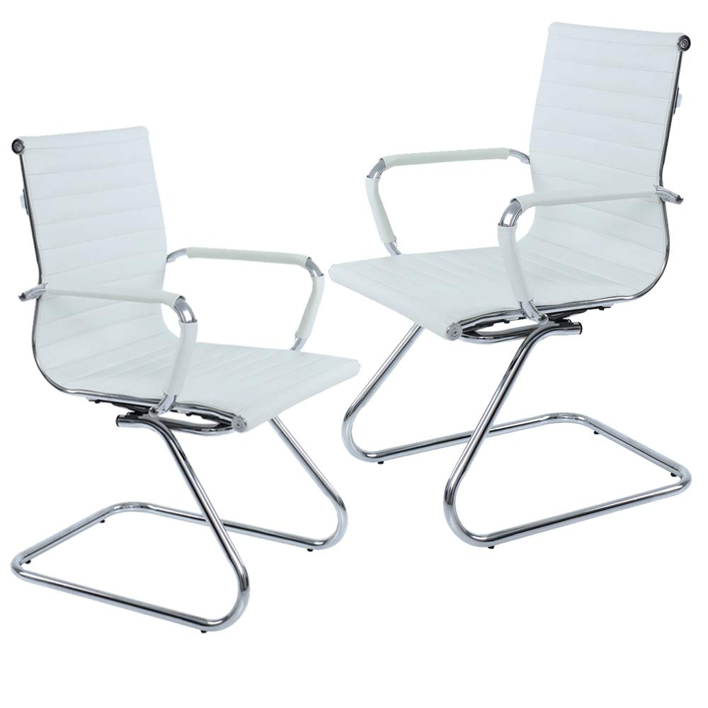 Ribbed Leather Office Chair with Arms, Set of 2, Mid Back Reception Conference Guest Chairs, Sled Base (White)