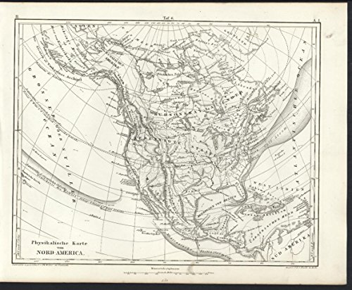 Physical Map of North America 1851 Heck antique detailed engraved map Detailed Map North America