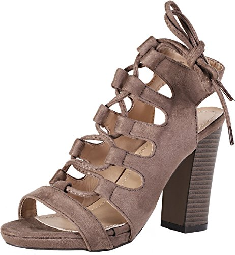 Lace Up Slingbacks (Chase & Chloe Benjamin-1 Women's Open Toe Bondage Lace Up Slingback Chunky Heel Suede Sandals,Taupe,9)