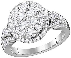 14kt White Gold Womens Round Diamond Cluster Bridal Wedding Engagement Ring 1-1/2 Cttw