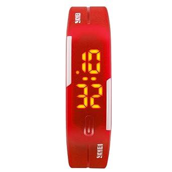 SKMEI - Reloj Digital Resistente al Agua Estilo Deportivo PU con LED Reloj Impermeable para Niños Chicos - Rojo: Amazon.es: Relojes
