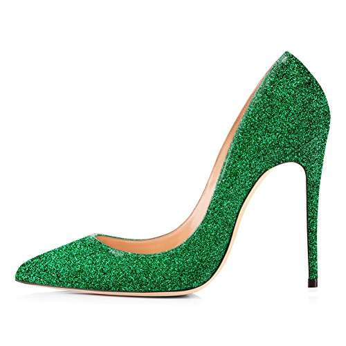 Onlymaker High Heels, Women Slip-on Pumps Pointy Toe Party Dress Wedding Shoes Green US 8 -