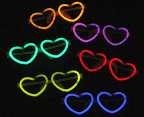 UChic 10Pcs Flashing LED Glasses Love Peach Heart Shape Glowing Blinking Eye Glasses With Glowing Sticks Eyewear Cosplay Concert Accessories Glow Party Supplies(At Random Colors)