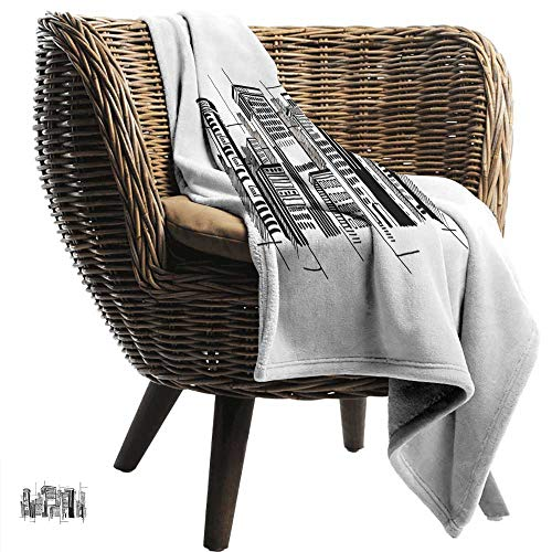 Sillgt Super Soft Blanket City Abstract Monochrome City Architecture High Buildings Downtown Financial District Bedding Throw, or Blanket Sheet 60