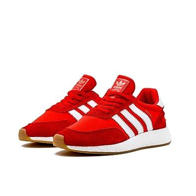 adidas mens iniki runner scarpe in rosso / bianco nylon sz