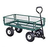 Rolling Garden Utility Cart Wagon Buggy Wheelbarrow Gardening Planting Outdoor Patio Lawn Tools Transport Trailer Foldable Frame Design HeavyDuty Steel Frame Cushioned Grip Handle Corrosion Resistance
