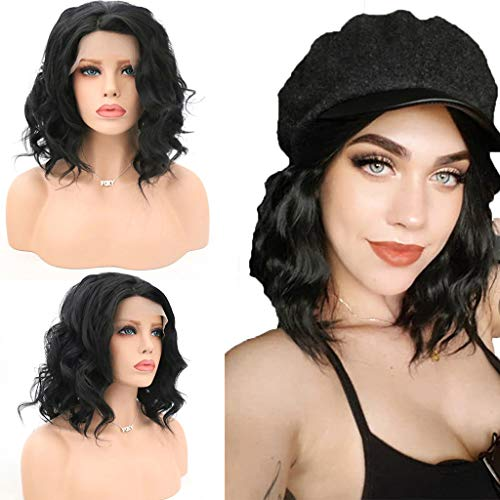 Black Lace Front Wig Deep Part Loose Wave Human Hair Wigs with Baby Hair Pre-plucked Hairline Lace Front Wigs (a)