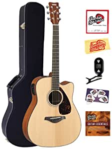 yamaha fgx700sc solid top cutaway acoustic electric guitar bundle with hardshell. Black Bedroom Furniture Sets. Home Design Ideas