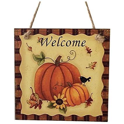 Amazon.com: SODIAL(R) Wooden Hanging Plaque Sign Thanksgiving Door ...